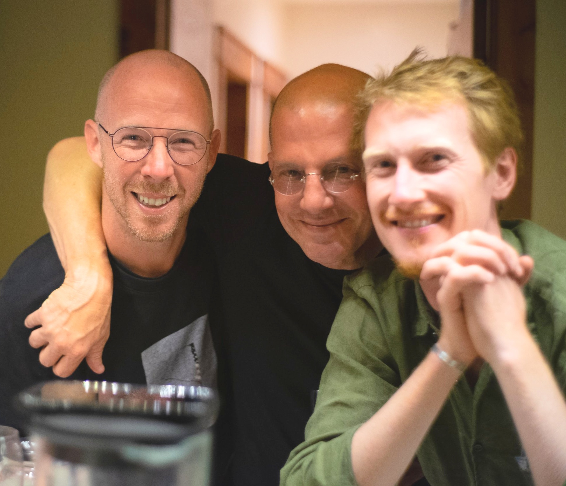 Shawn, Todd, and Luen of Dry Farm Wines showing gratefulness for each other