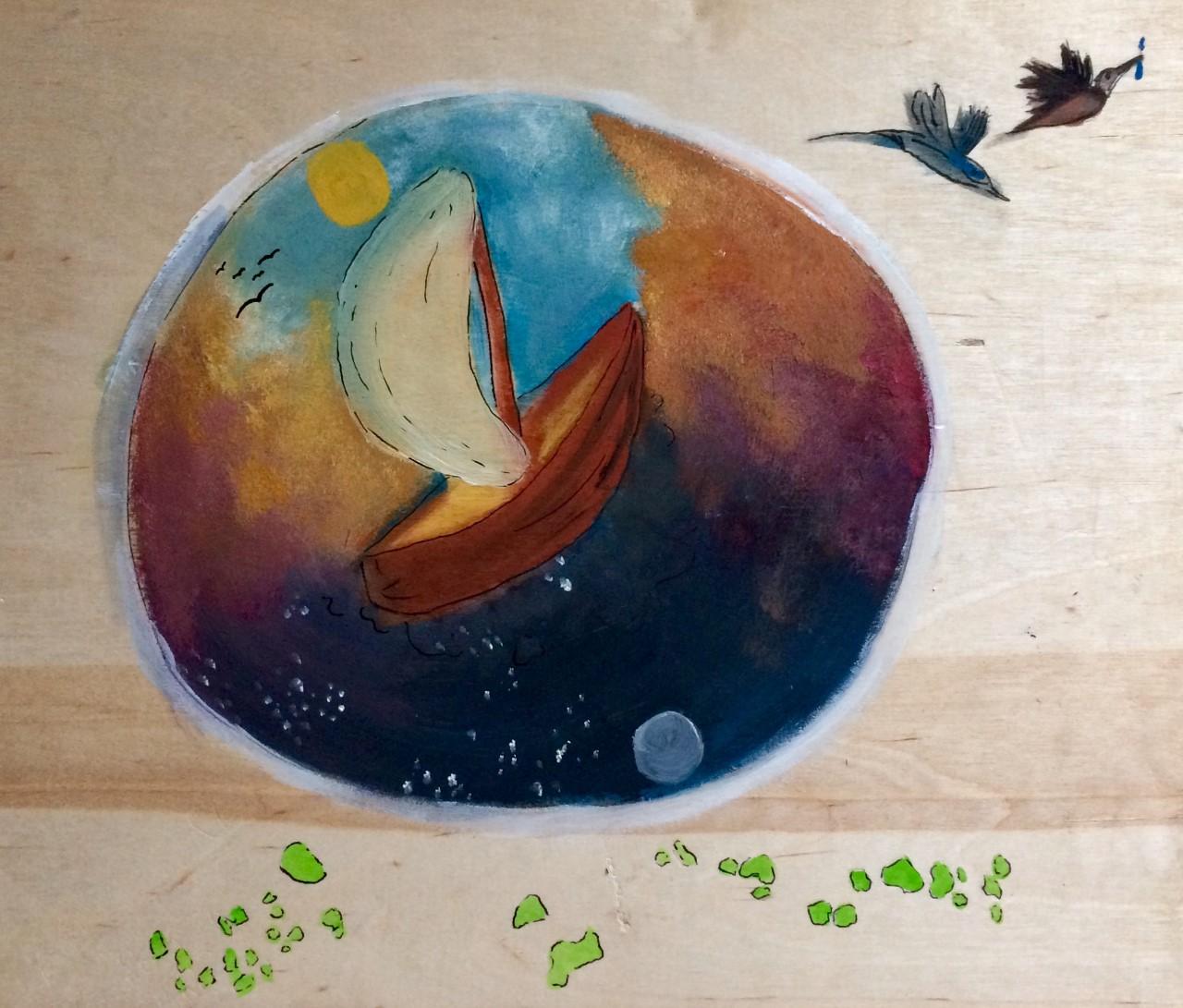 """Ilustración de Ani Ventocilla King: """"…demos vuelo a aquel sueño de una travesía poética por las comunidades kunas - ese viajar a vela de comunidad en comunidad.."""""""