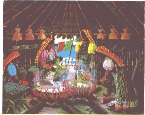 """A preparar la sopa colectiva, se acerca la fiesta de la aldea"". Arte de Julian Velasquez"