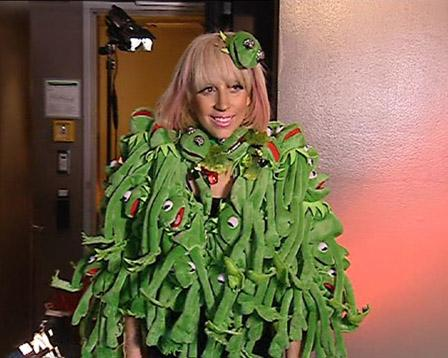 Lady Gaga, in infamous Kermit the Frog coat.