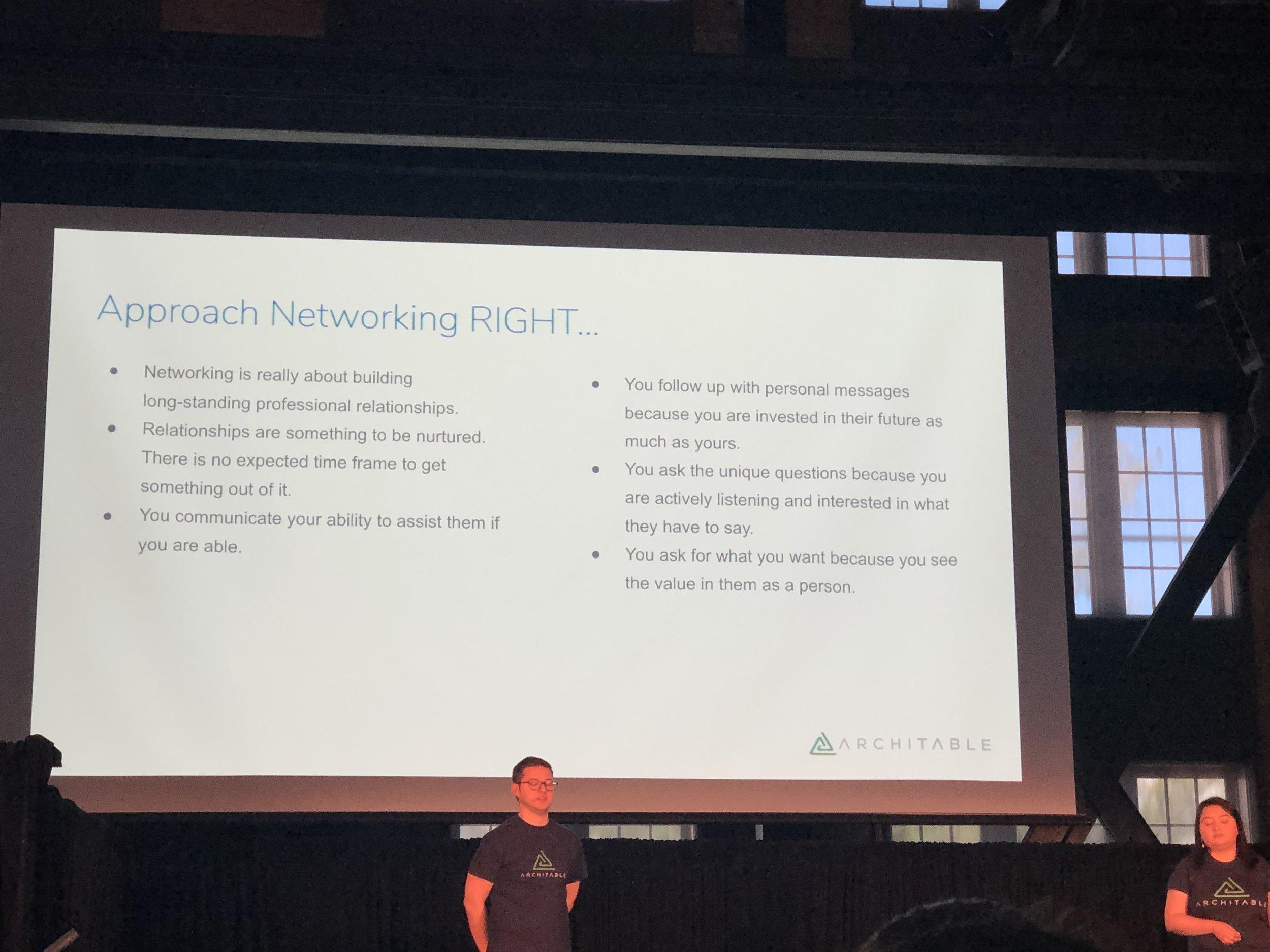 Adam Denais (of  Architable ) and Monica Denais discuss keys to networking