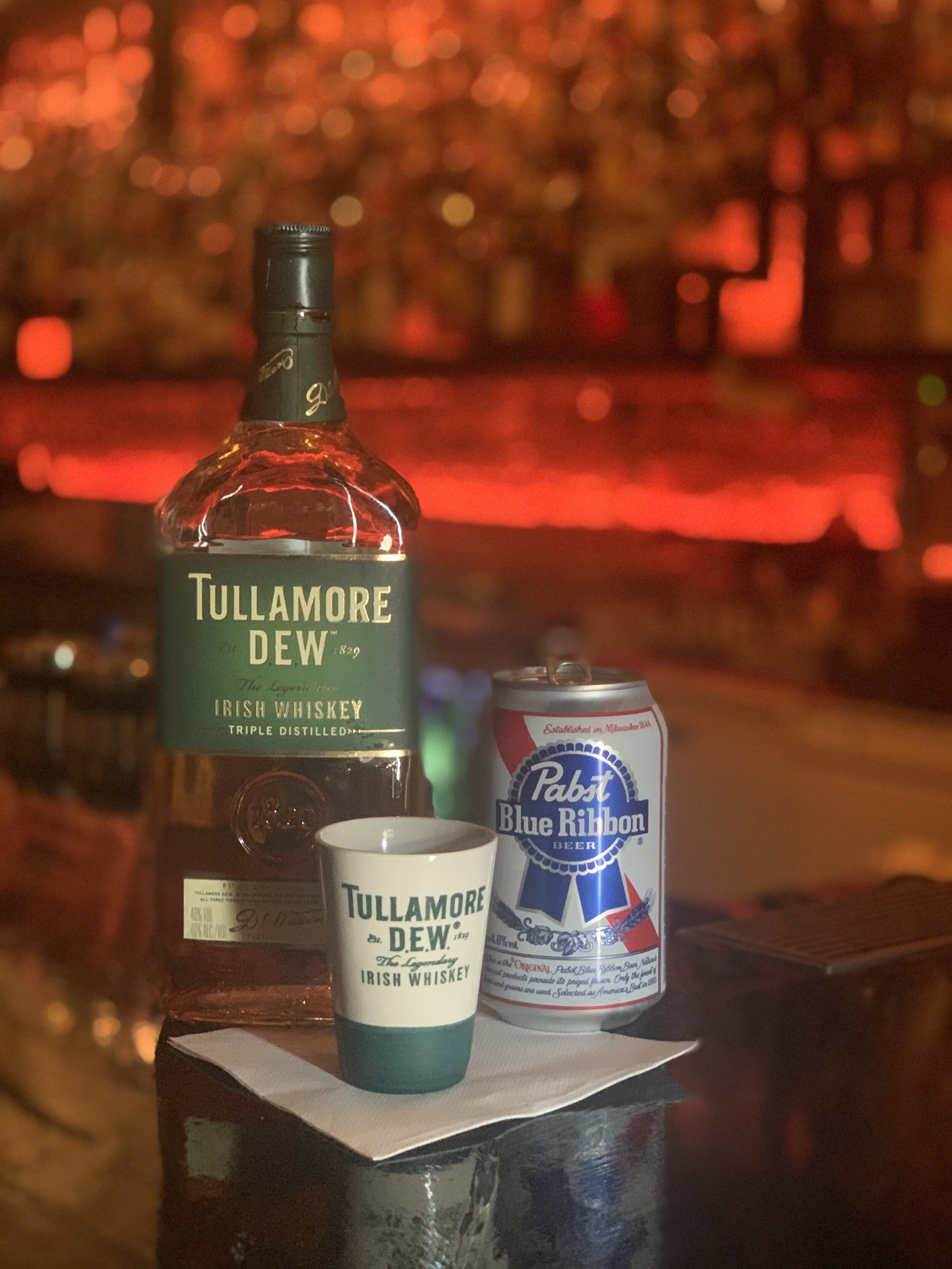 Dew & a Brew - $16 - Tullamore Dew & a Pabst Blue Ribbon.4pm - 7pm Everyday.