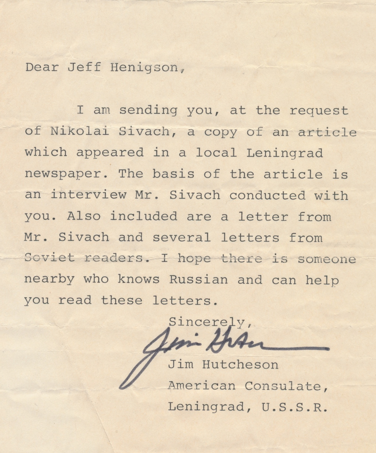 Letter to Jeff from U.S. Consulate office, Leningrad