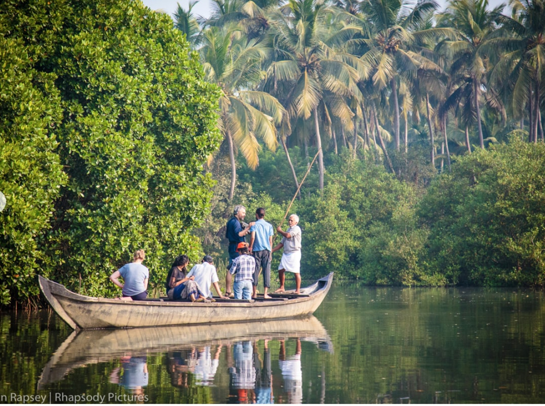 Boat interview in the mangroves of Kerala