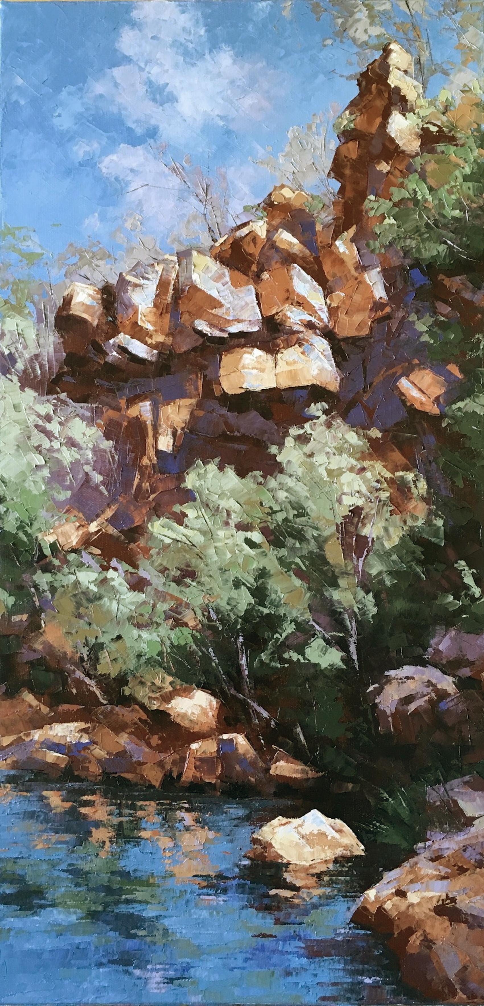 Galvans Gorge, Oil, 30 x 61cm,  $600