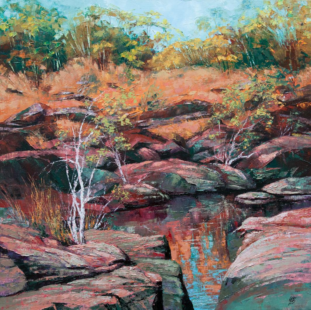 Punamii-Unpuu Walk Trail I, Oil, 61 x 61cm,  $1,500