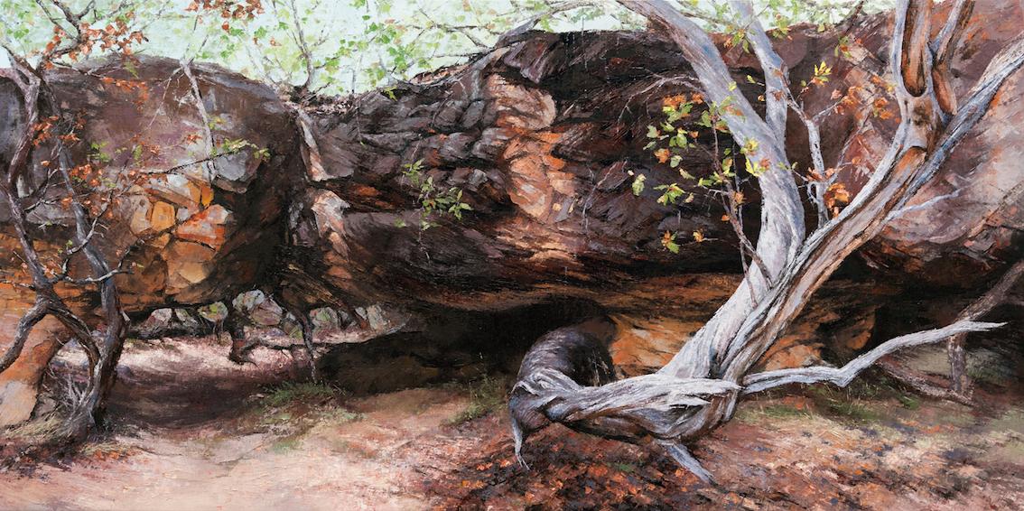 Secret Place (Kimberley, Wandjina Rock Art Galleries), Oil, 122 x 61cm,  $4,800