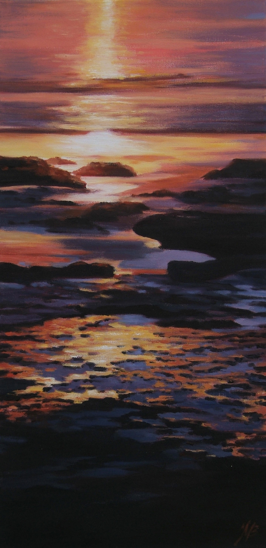 Sunset on Cable Beach, Oil, 40 x 70cm,  $500