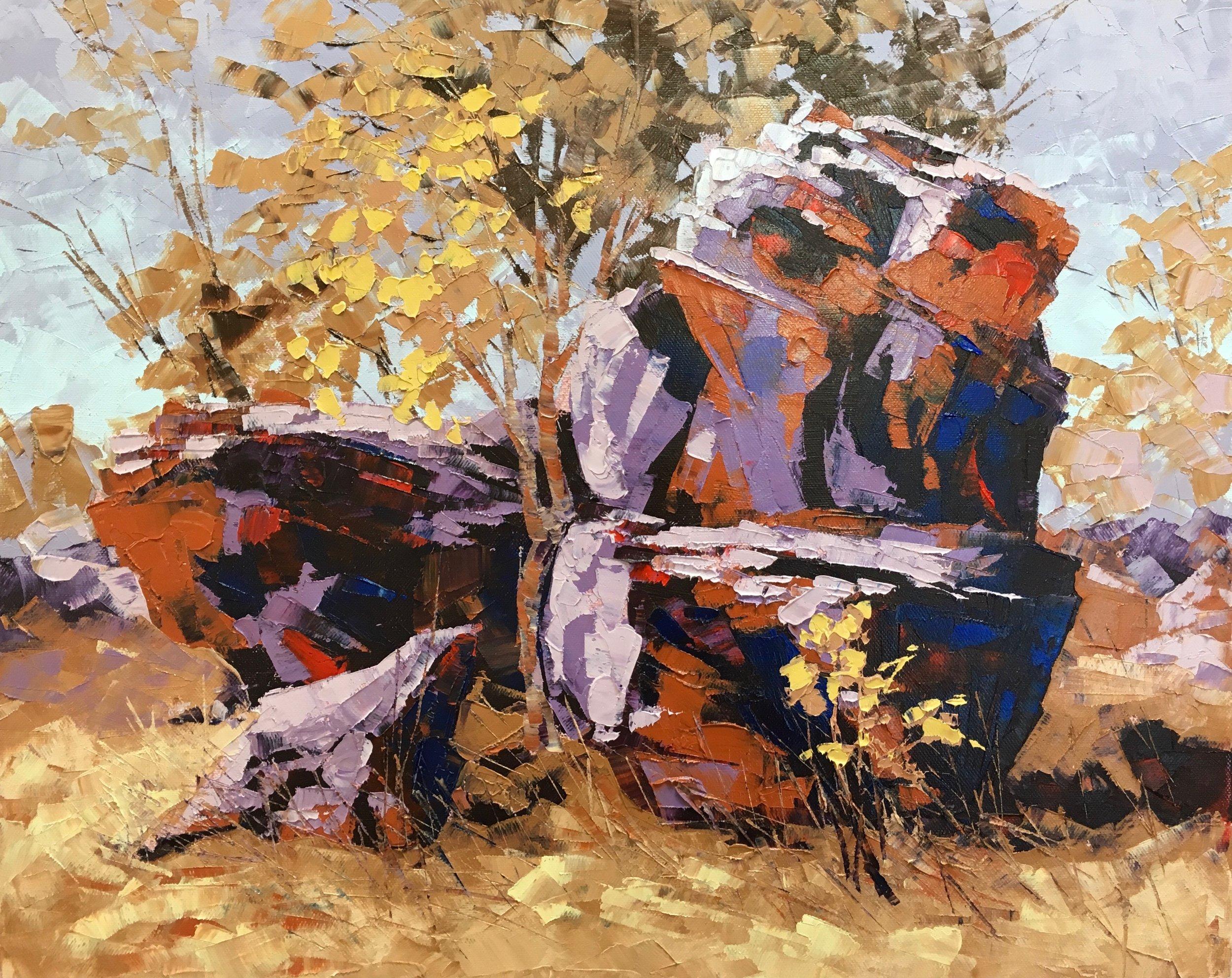 Wandjana Rock Art Gallery, Oil, Framed, 51 x 41cm,  $1,500