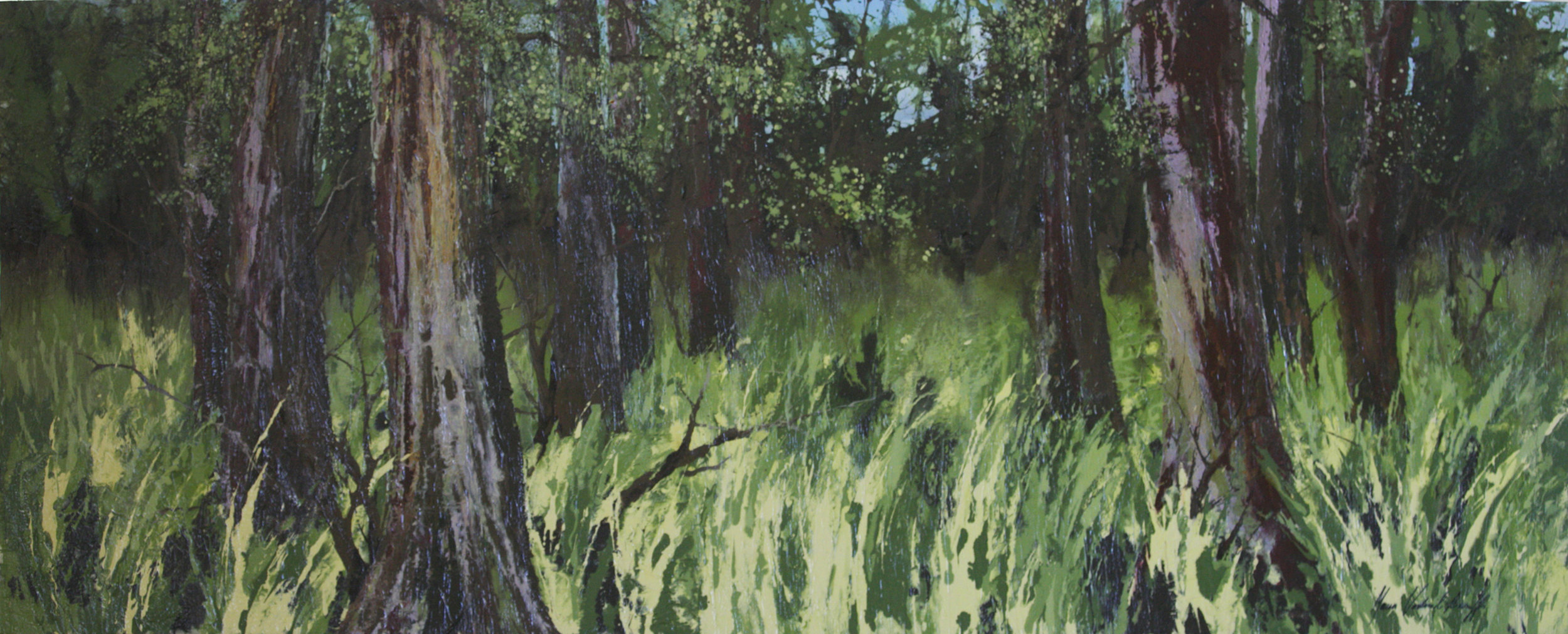 Deep In The Forest, Mixed Media, Framed, 150 x 60cm,  $1,200