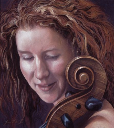 Girl With Cello, Pastel,  SOLD