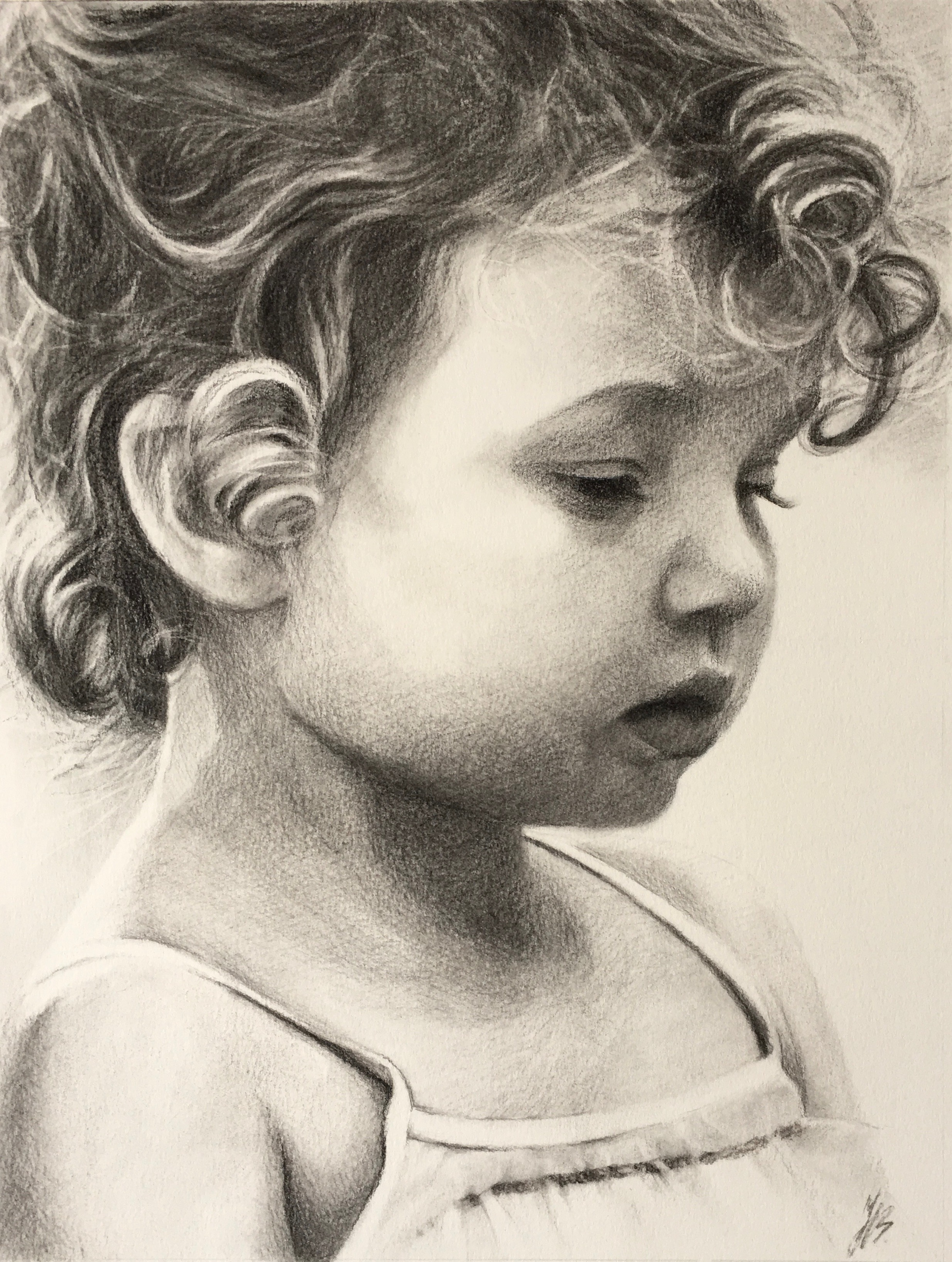 Grace, Charcoal on Paper,  SOLD