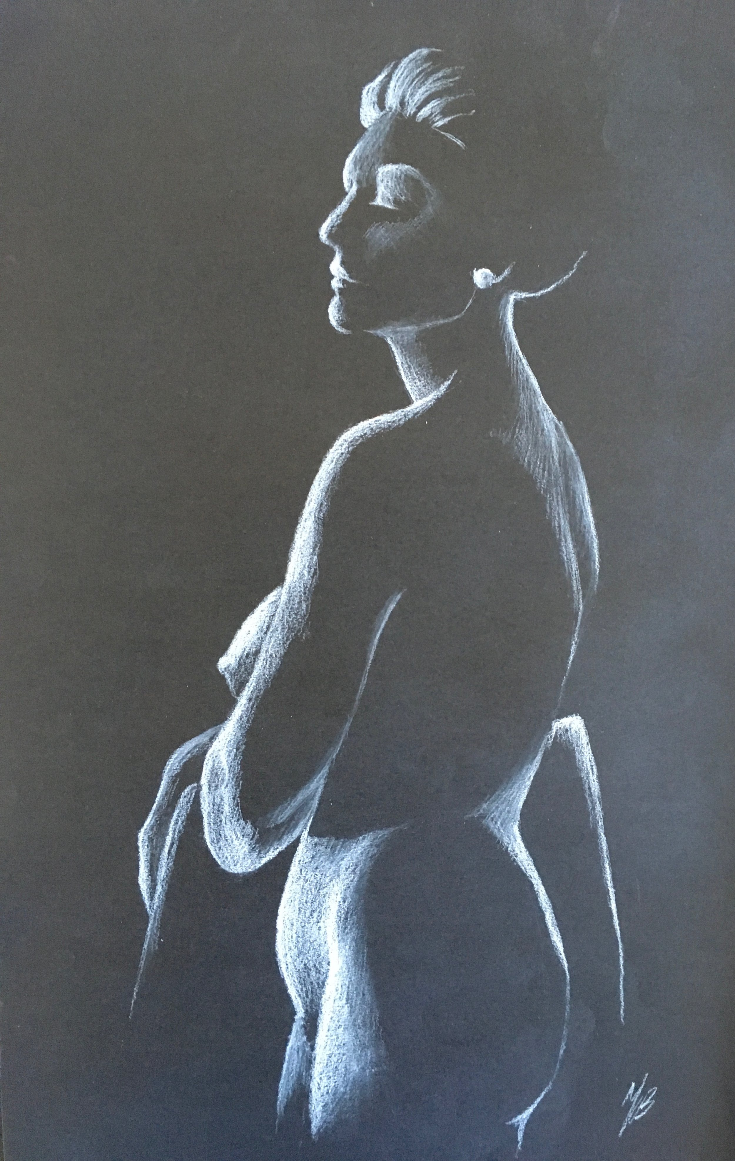 Silhouette II, White Charcoal on Paper,  $150
