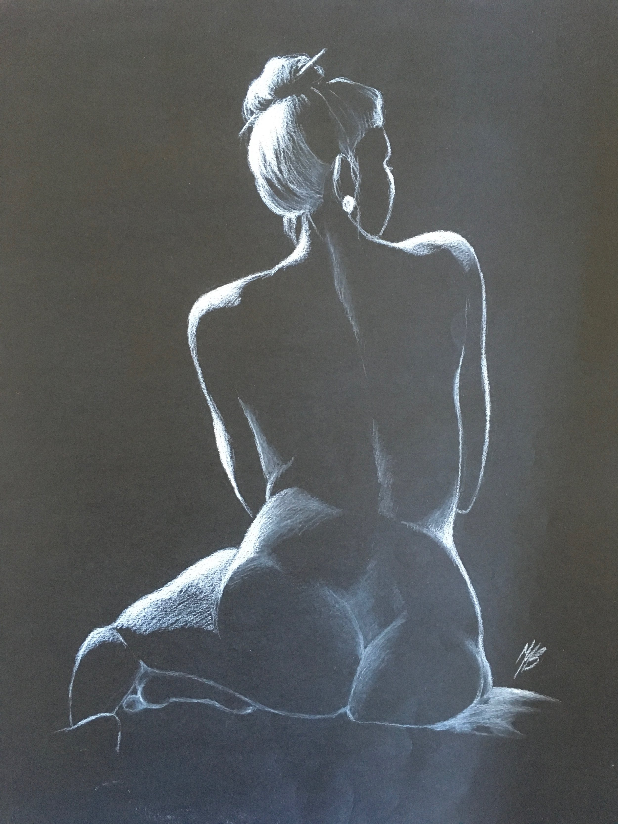 Silhouette, White Charcoal on Paper,  $150