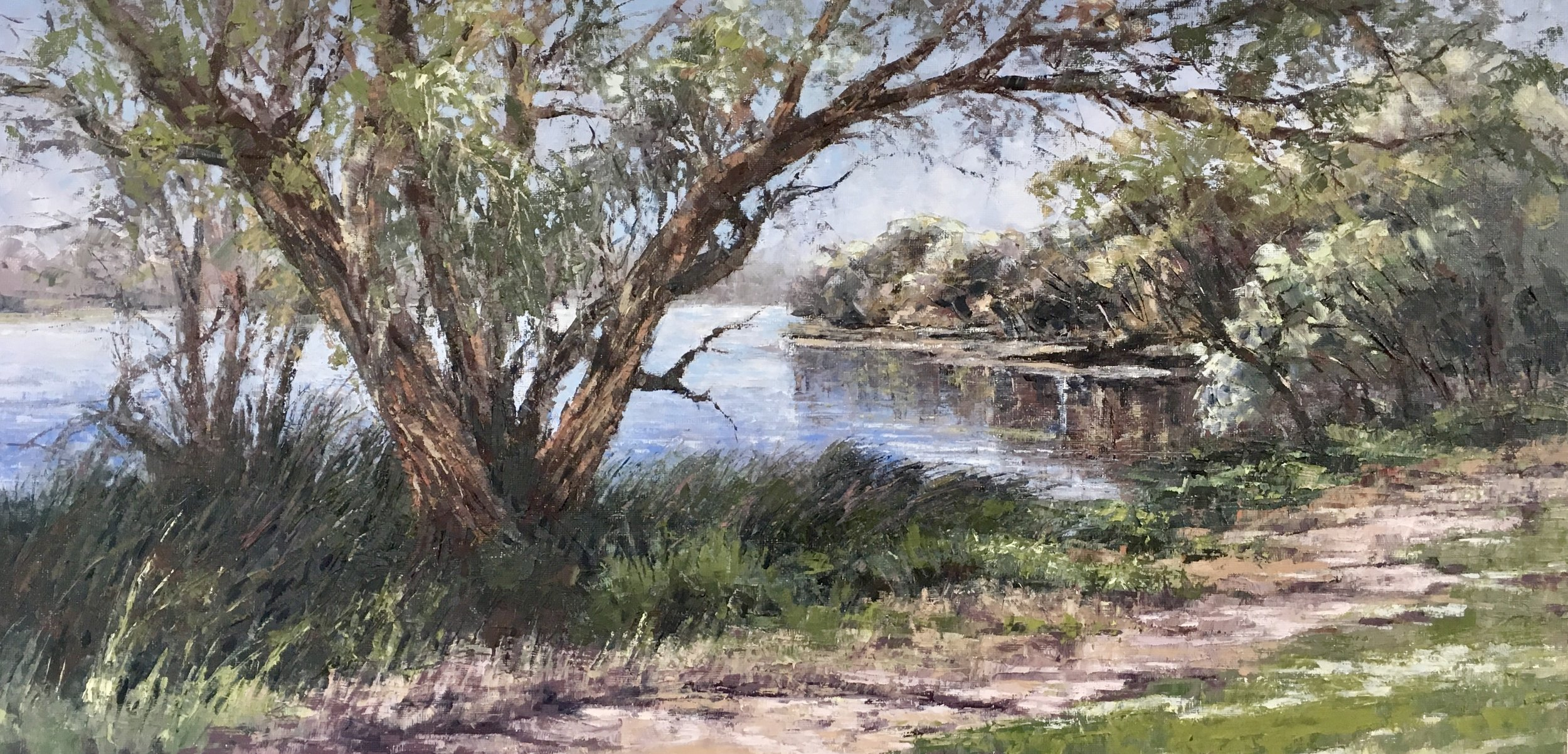 River Walk II, Oil, Framed, 72 x 41cm,  $1,200
