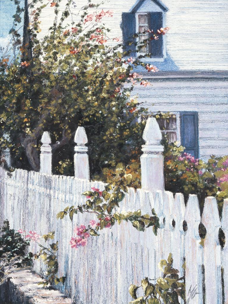 Bahamas - Fence, Pastel,  SOLD