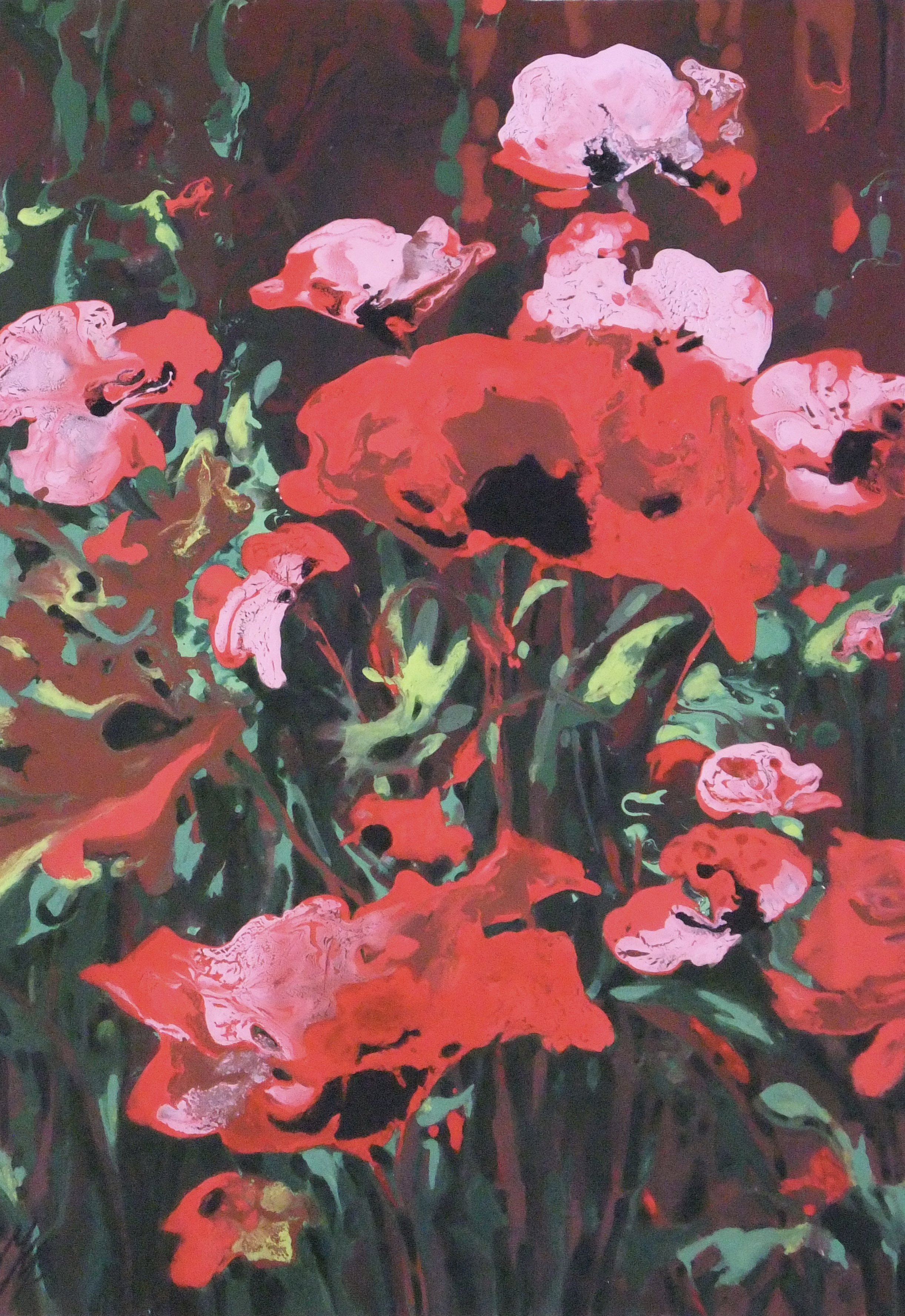 Poppies, Acrylic,  SOLD