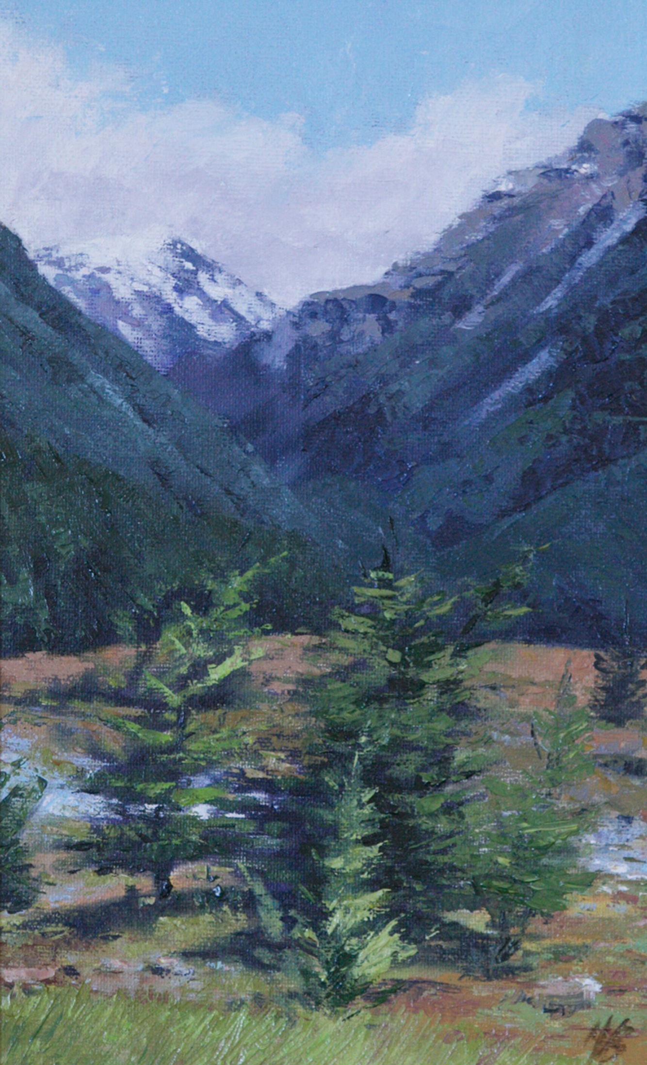 Beauty of the Alps (New Zealand), Oil, Framed, 36 x 48cm,  $600