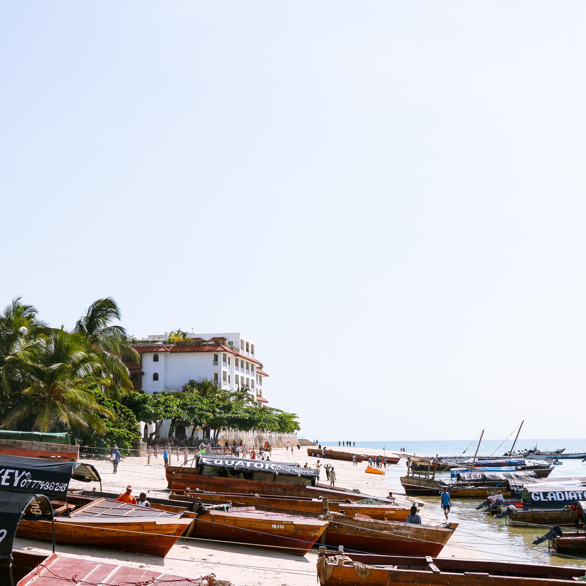 Foreshore and fishing boats Stone Town Zanzibar