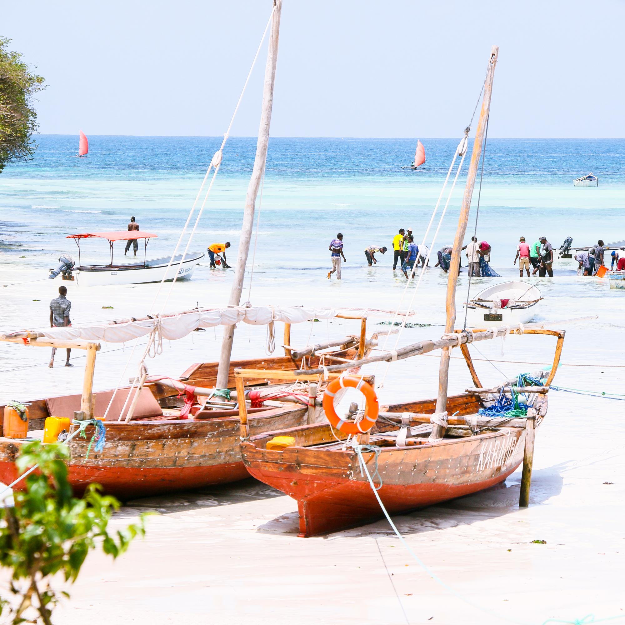 Fisherman changing shifts at Kizimkazi Mtendeni, a beautiful bay at southern tip of Zanzibar.