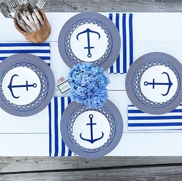 Officially 100% obsessed with our new addition to the shop!  Get your Nautical dinnerware fix with these super cute , New England made @caskatatableware  dishes ! #blueandwhiteforever #stripes #anchors #nautical #newportcollection #ineedthisinmylife