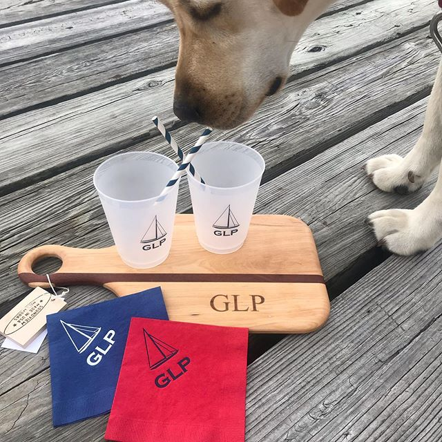 Just  hit the dock...and getting a full Hooper inspection..GLP and NOANK napkins and cups !  The perfect cocktail party , boat, beach , or bbq accessory! Ask us about ordering your own custom cups and napkins too!  #GLP #grotonlongpoint #Noank #ct #customnapkins #customcups #happyhour #summerfun #cocktails #stockyourbar #hooperapproved
