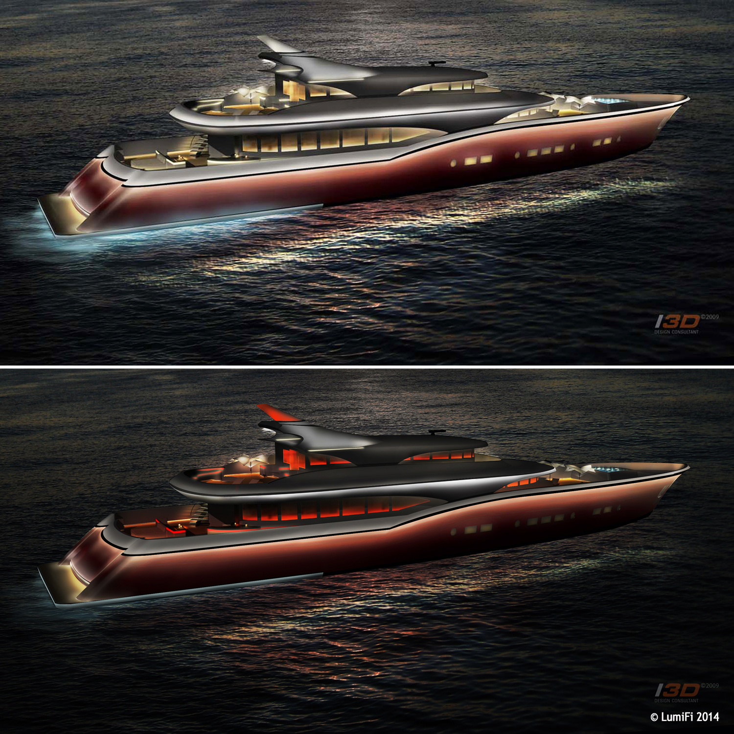 60M MOTORYACHT DESIGNED BY DLBA - Exterior Lighting Design Proposal
