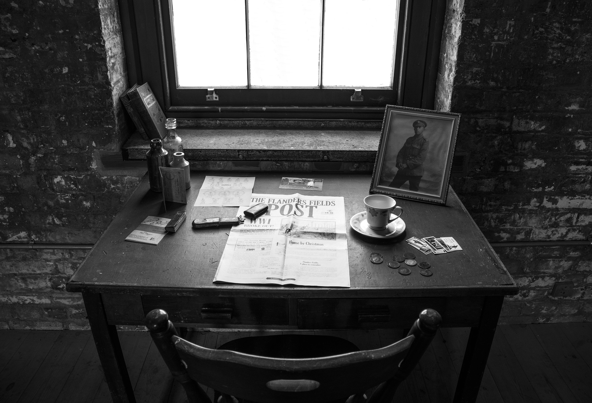 Desk with World War 1 artifacts. Remembrance and lest we forget.