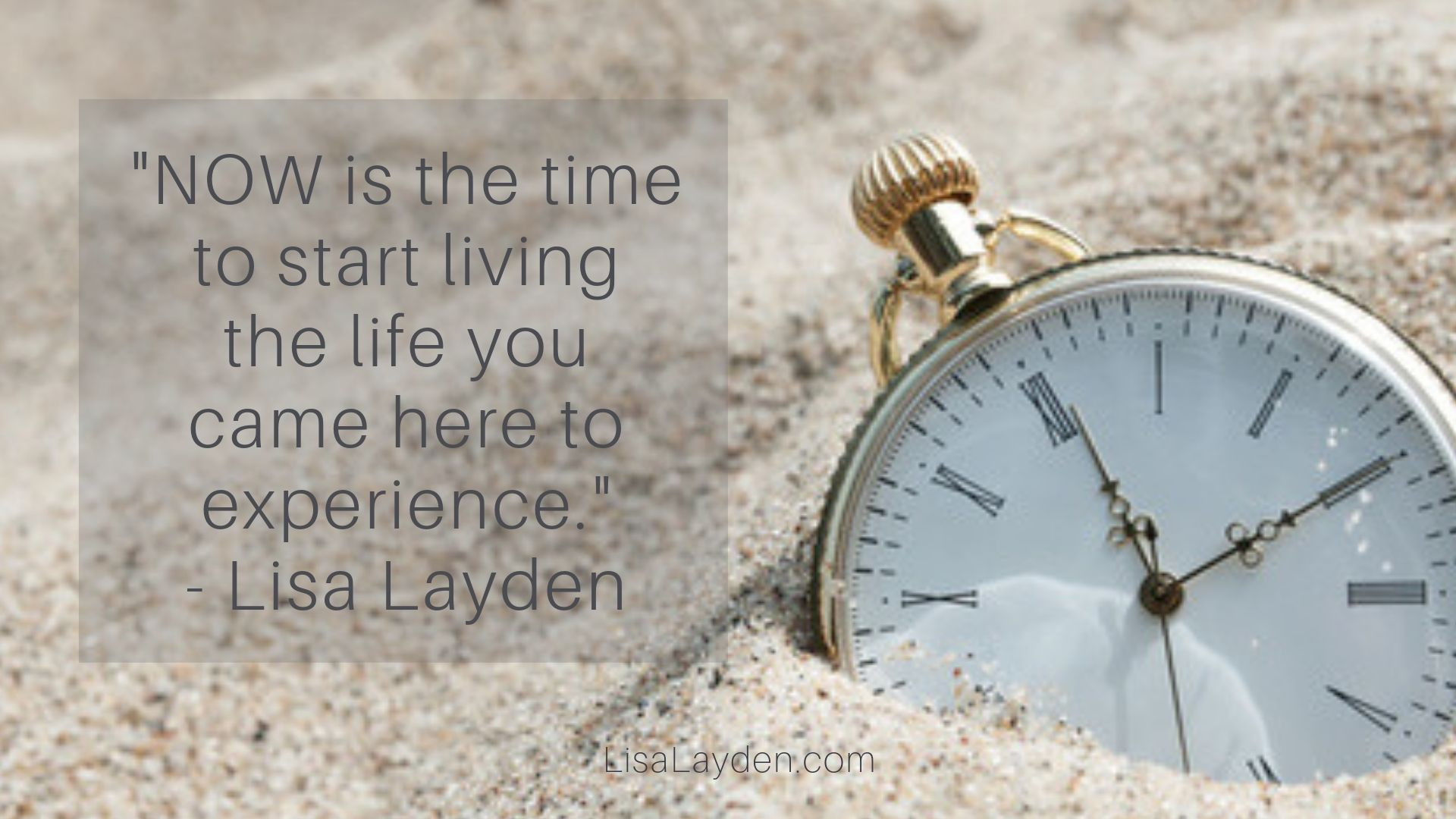 """Quote - """"NOW is the time to start living the life you came here to experience."""" – Lisa Layden"""