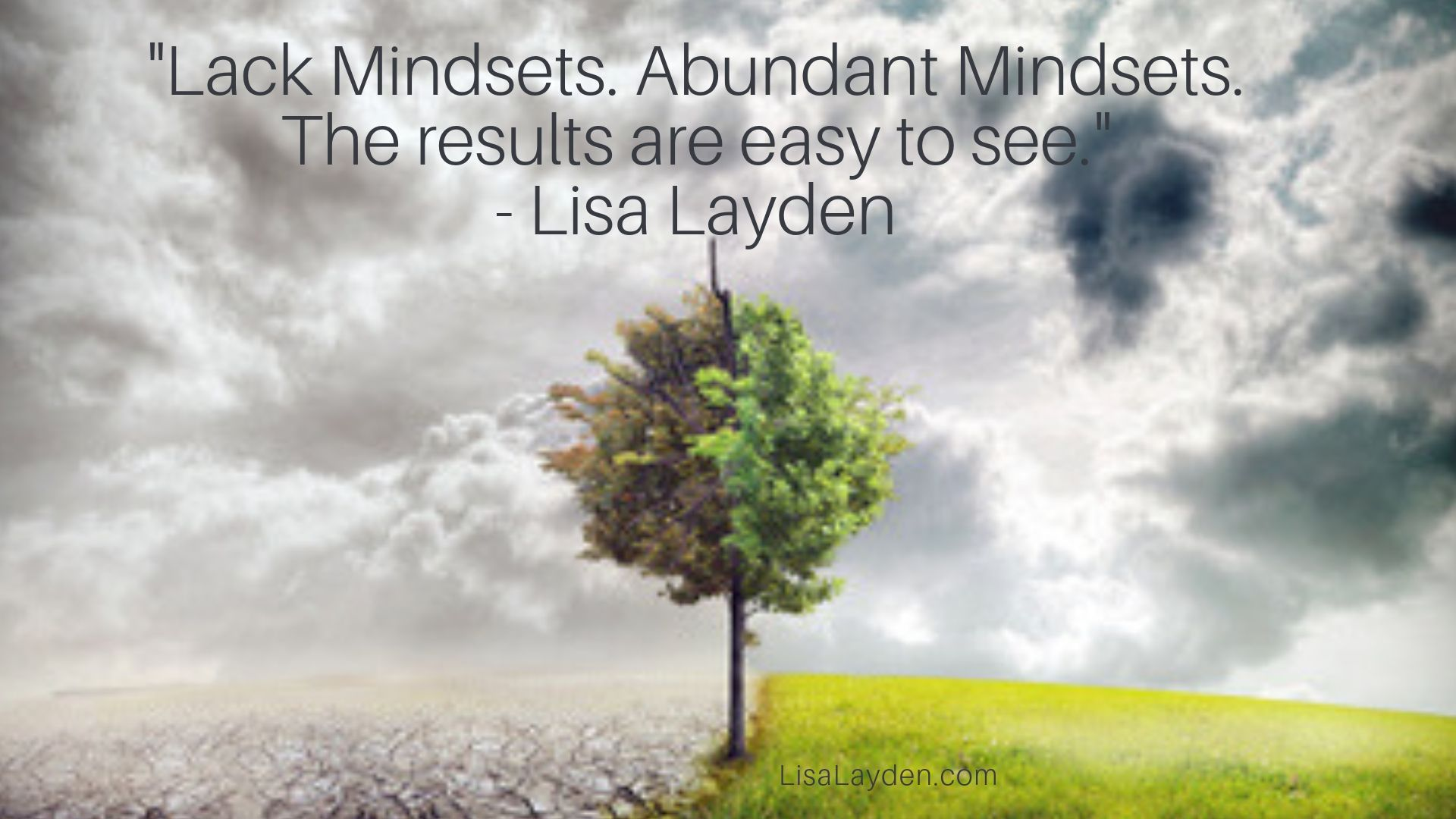 "quote - ""Lack Mindsets. Abundant Mindsets. The results are easy to see."" – Lisa Layden"