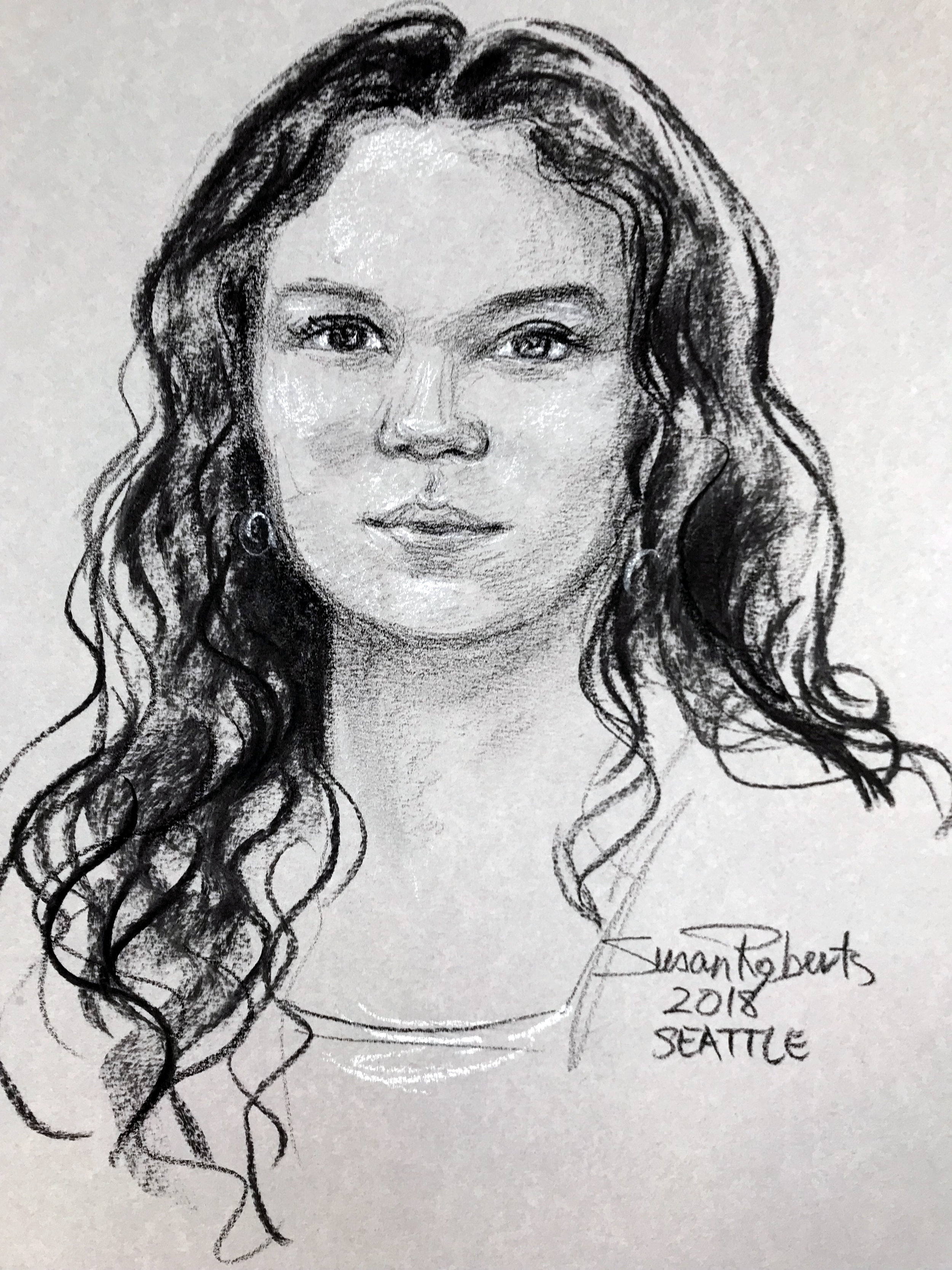 Conte crayon portrait on grey paper