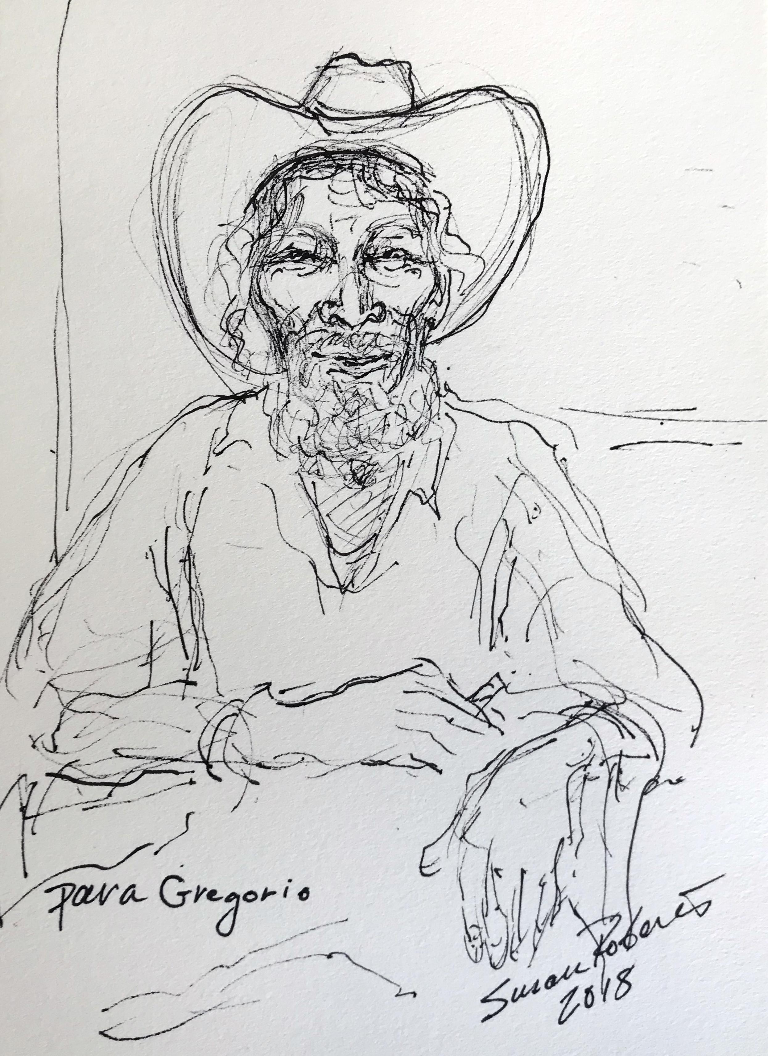 Quick sketch ink portrait