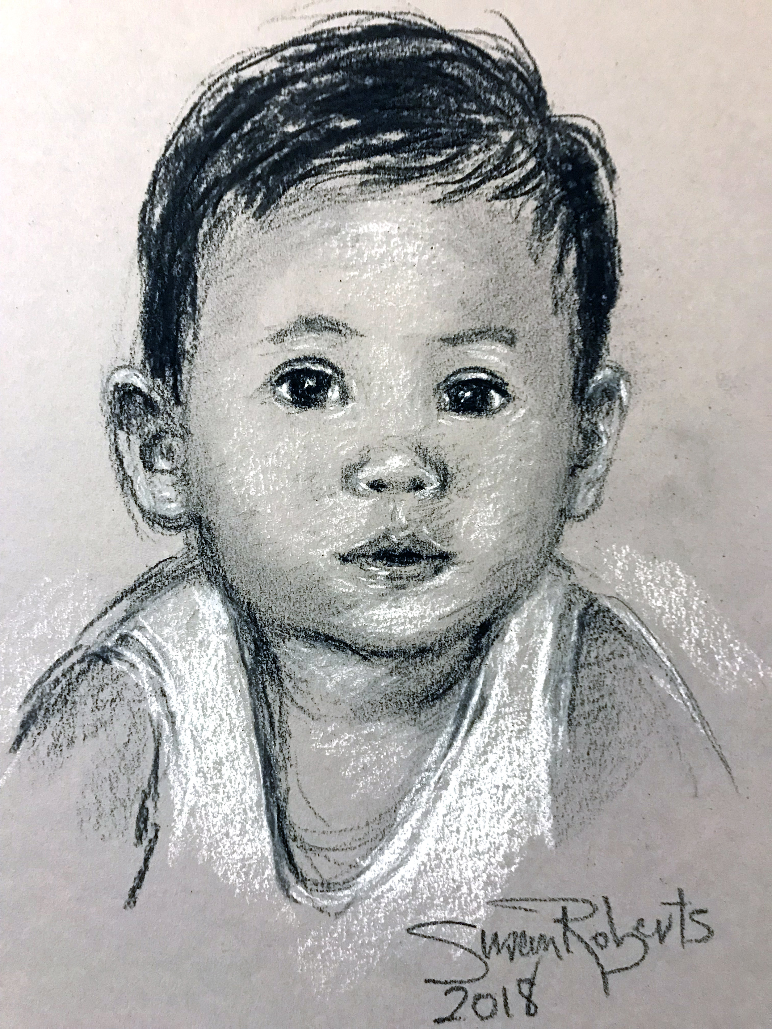 Conte crayon portrait with white accent on grey paper