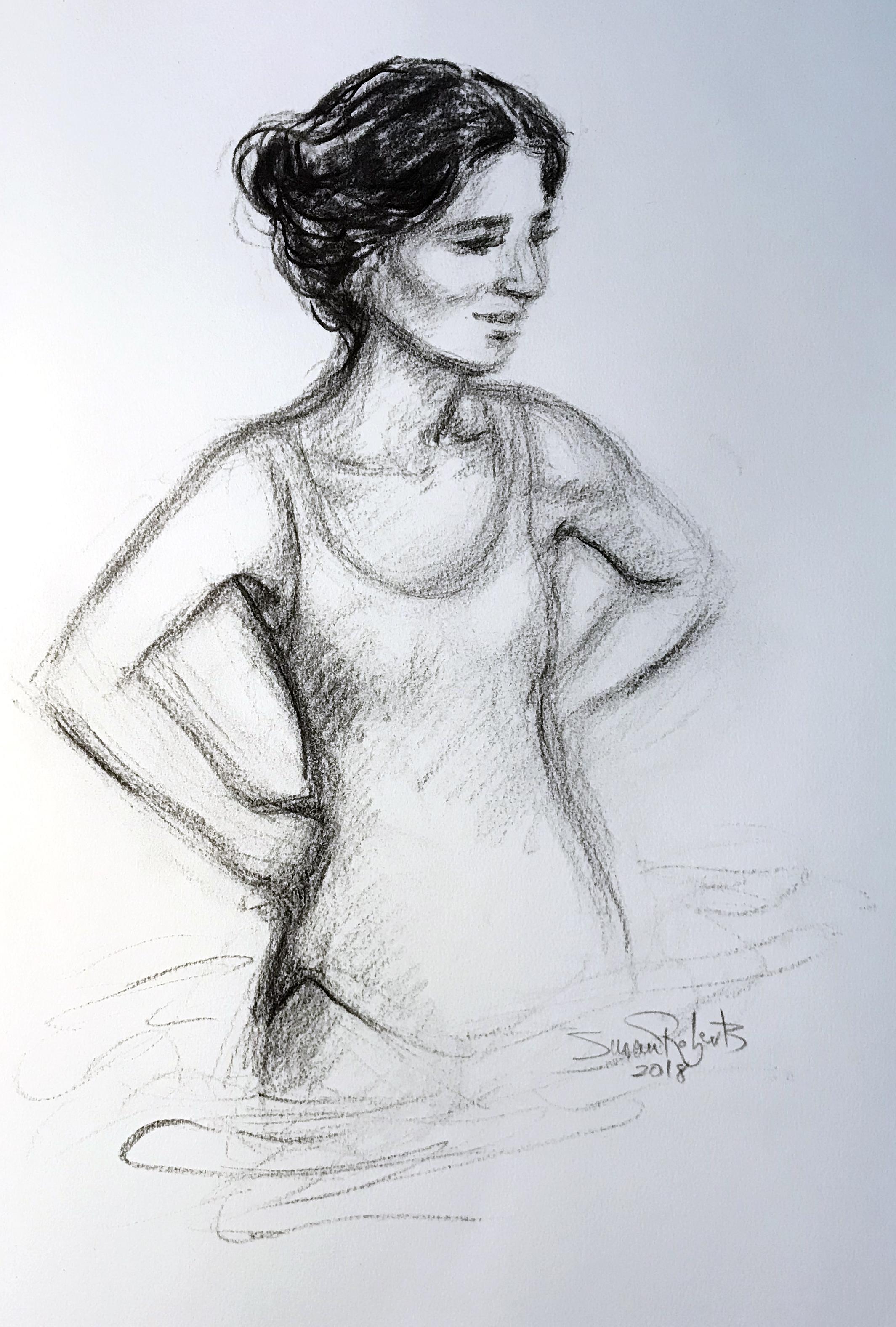 Conte crayon portrait (partial body)