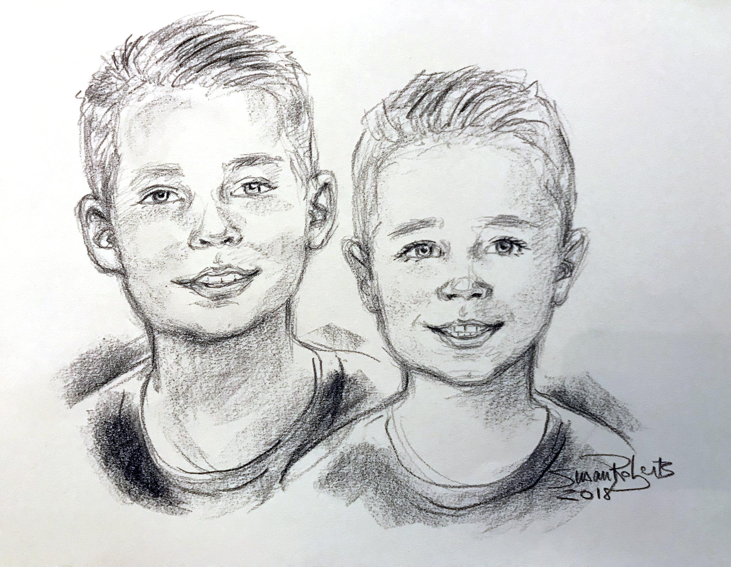 Group conte crayon portrait