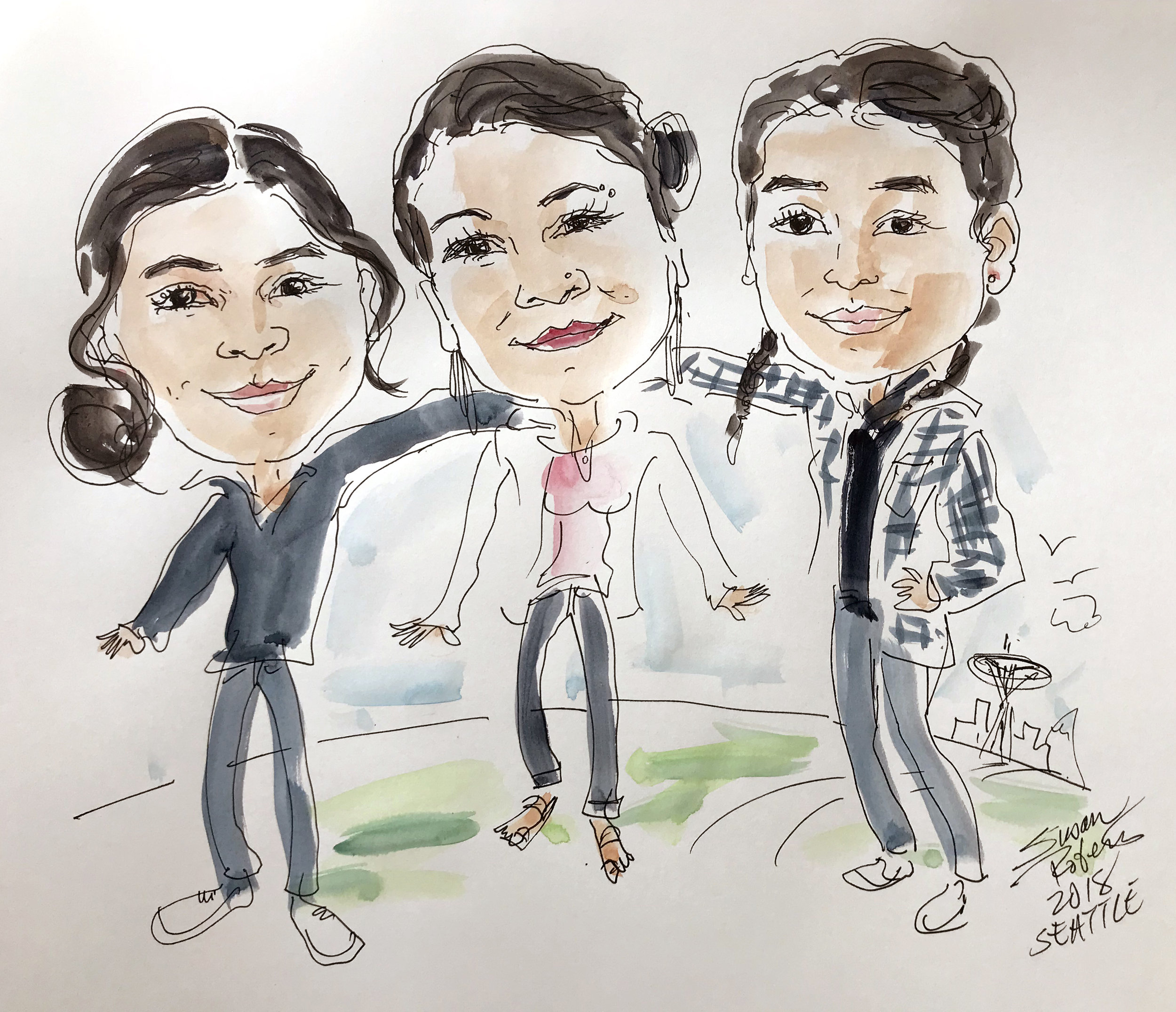 Group caricature with watercolor wash