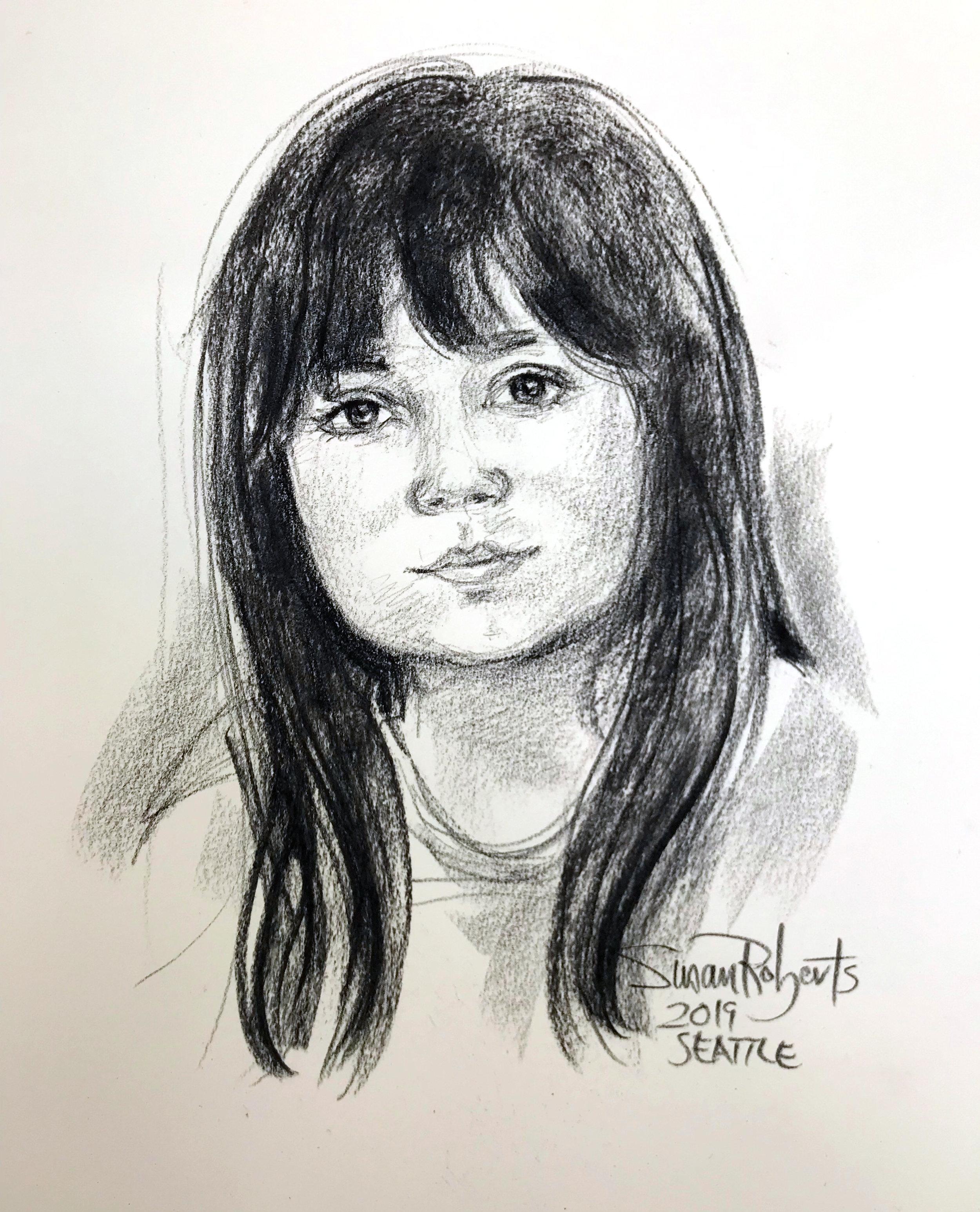 Conte crayon portrait