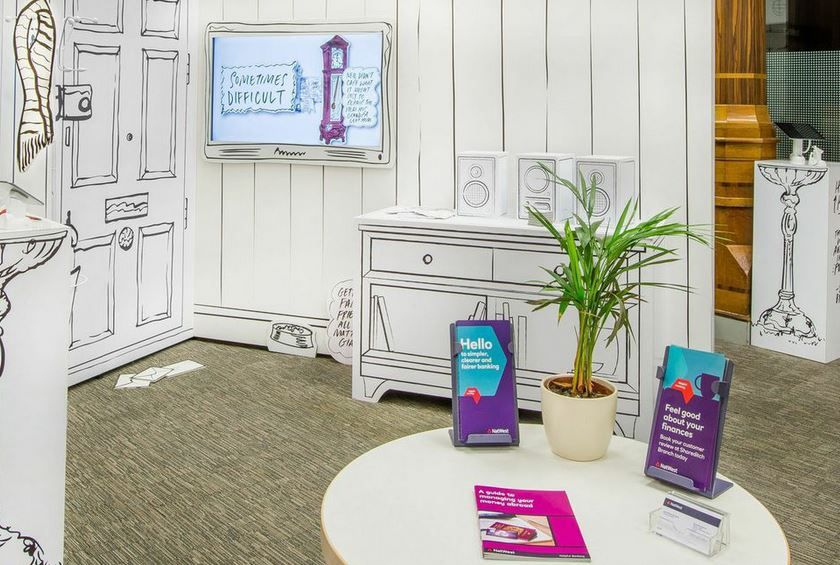 In branch set up in Moorgate NatWest for area where we spoke to customers.