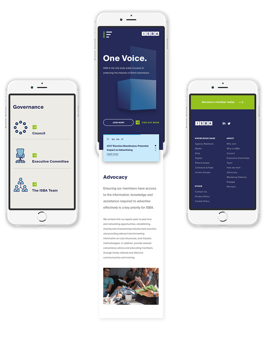 Finished mobile screens showcasing the home page, footer design and a content area.