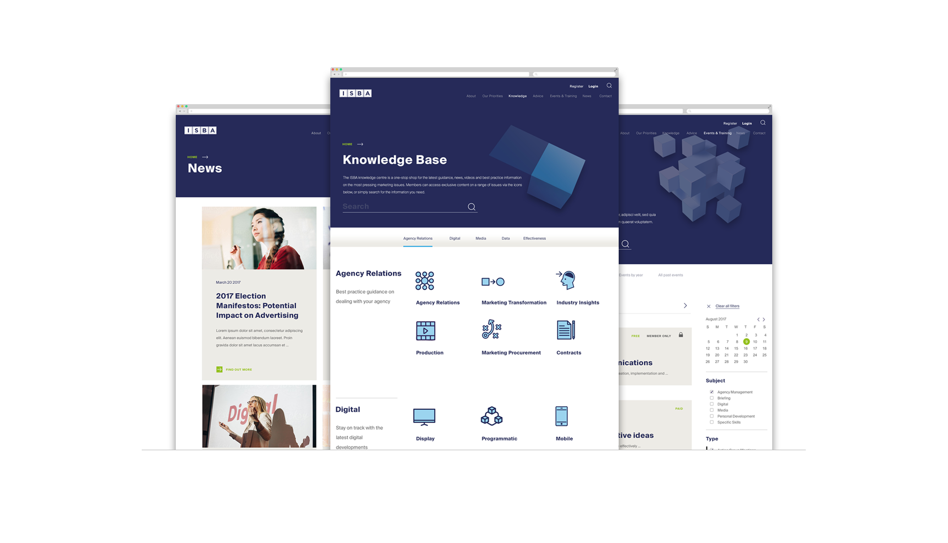 News, Knowledge Base and Events page designs for Desktop.