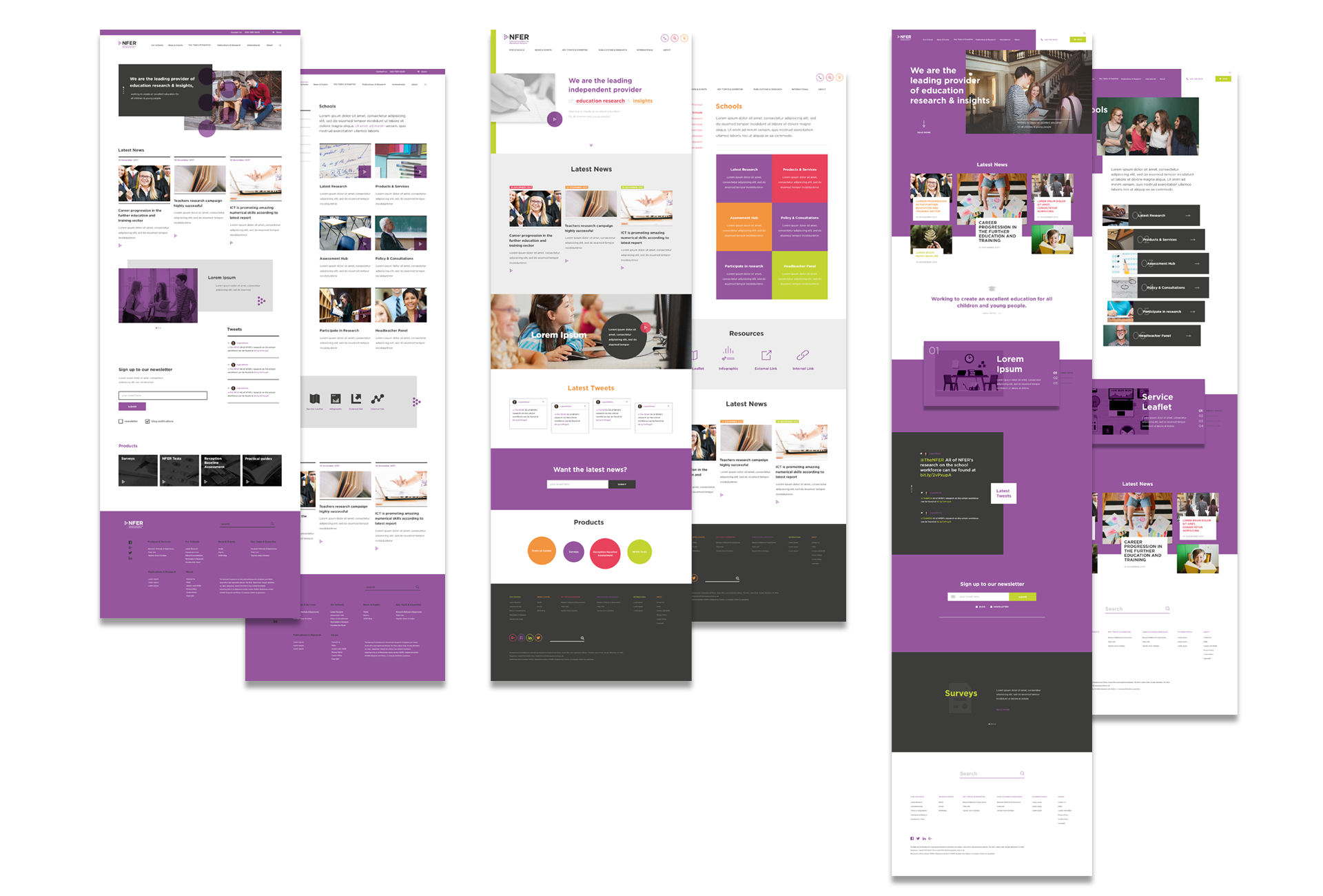 I designed a home page and content page for each of the three visual styles to present back to the client.
