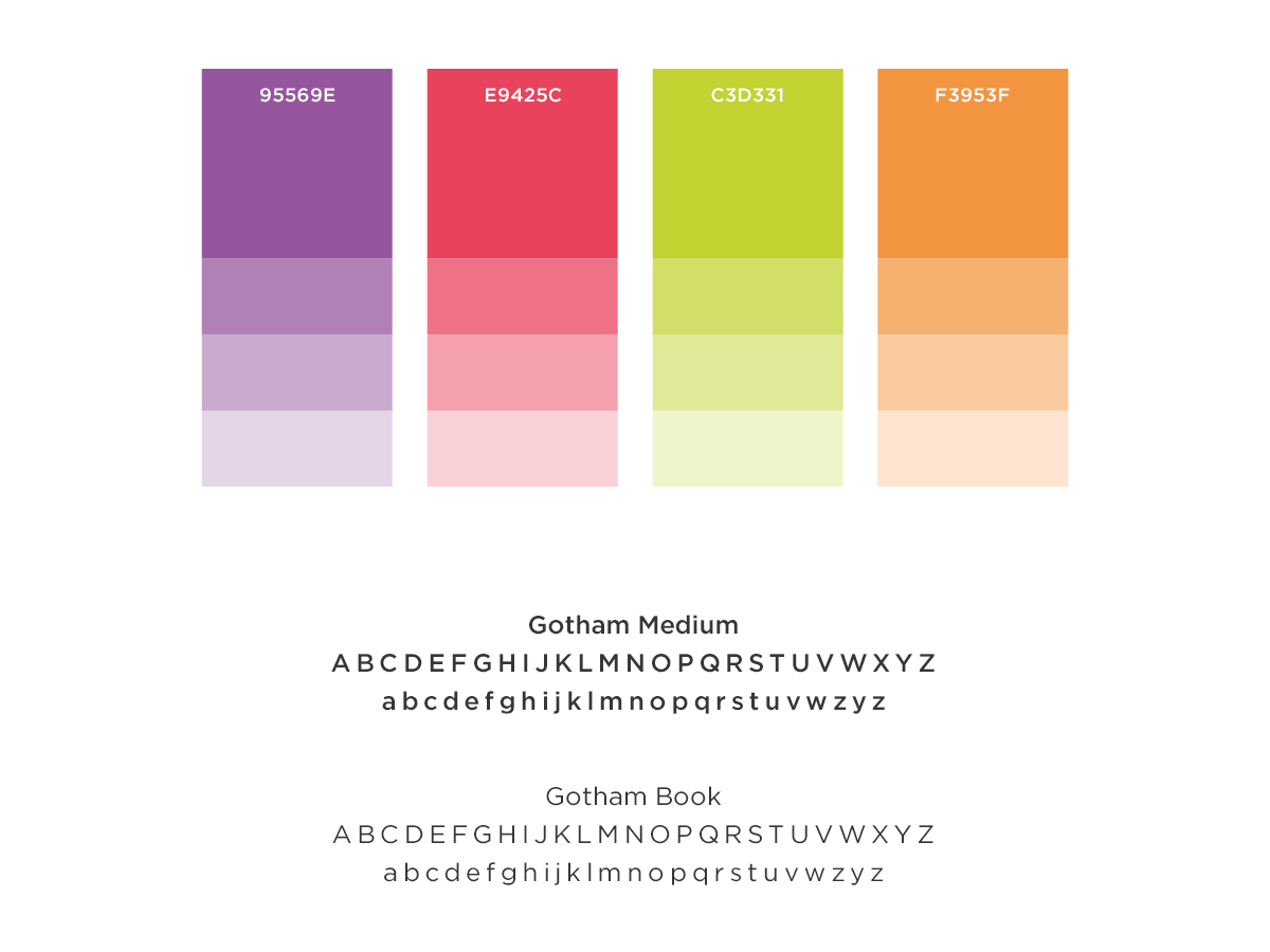 Basic Brand board for NFER, showcasing colour palette and font choices.