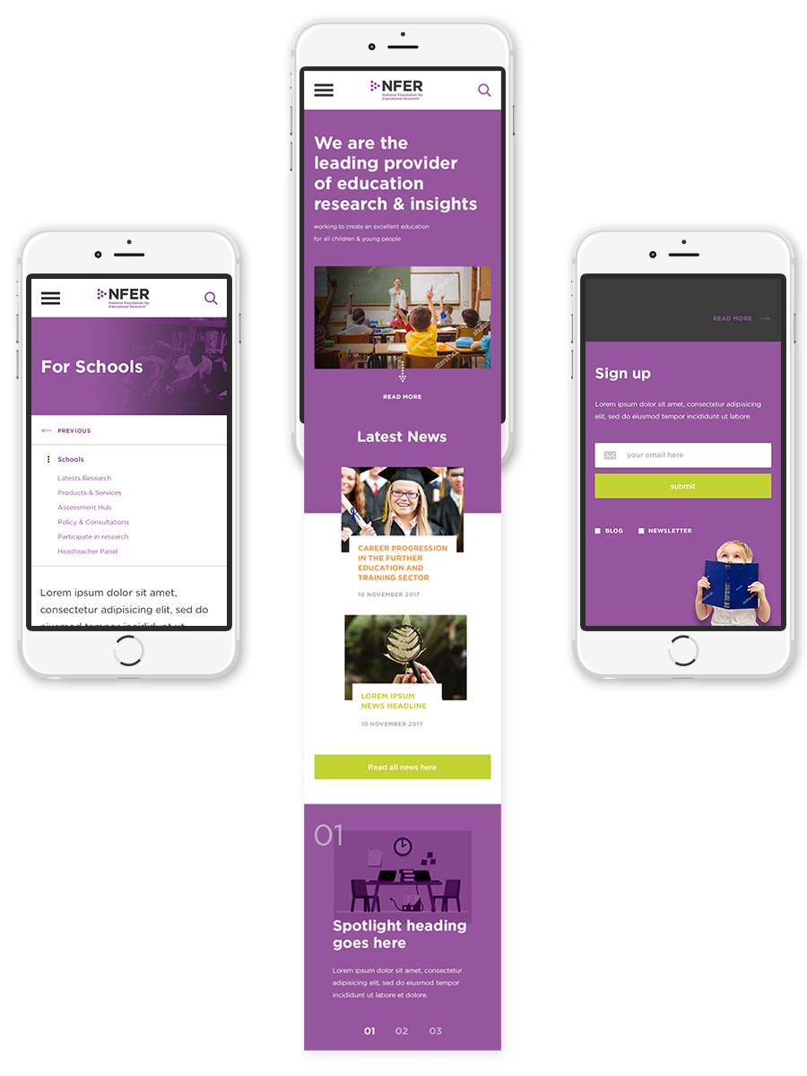 Finished Mobile screens for Home, a content page, and an example of the sign up form.