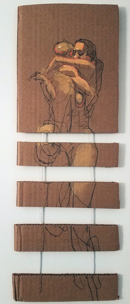 Falling - Acrylic on Cardboard