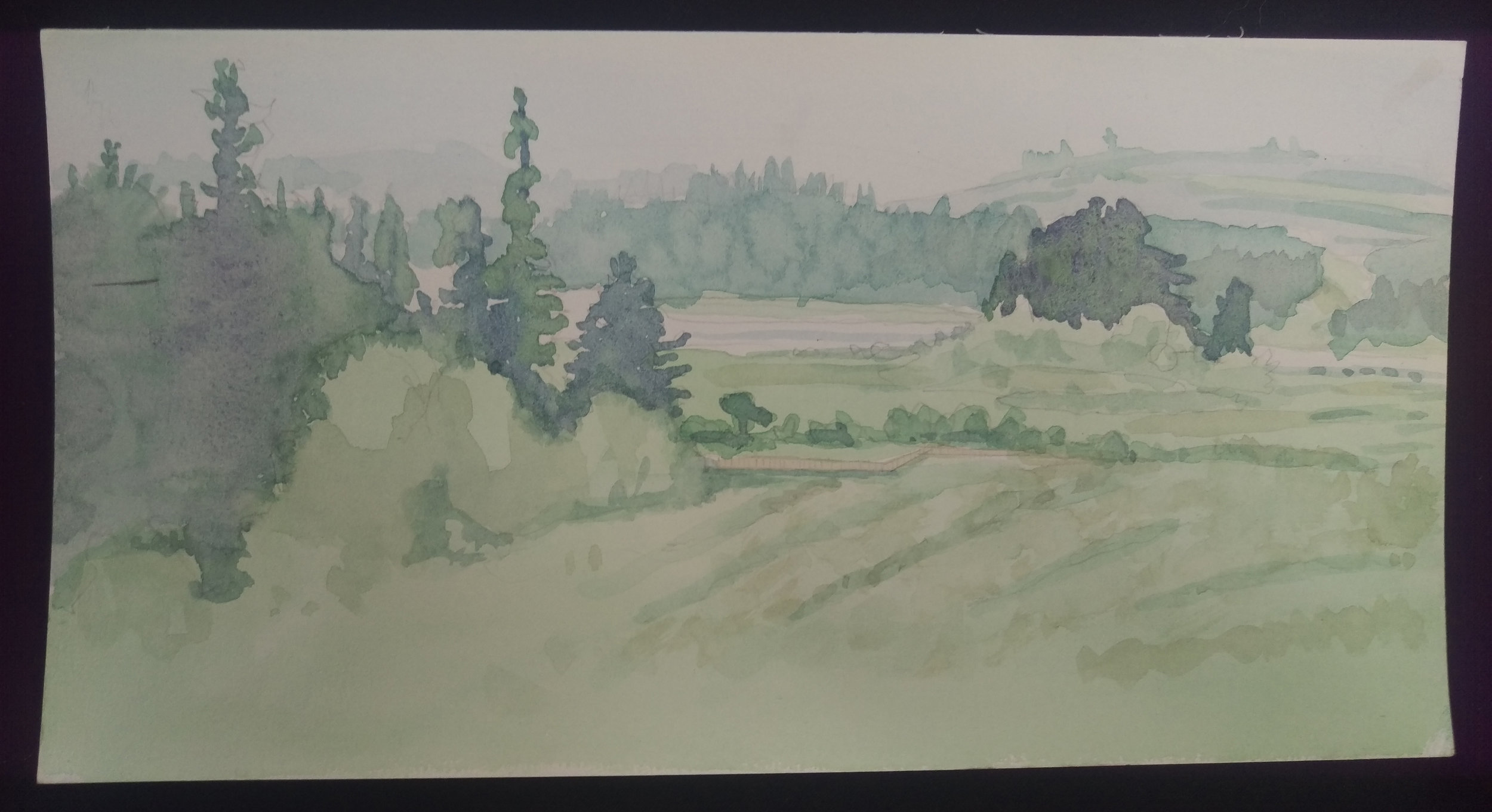Mt. St. Helens in the Mist - Watercolor on paper