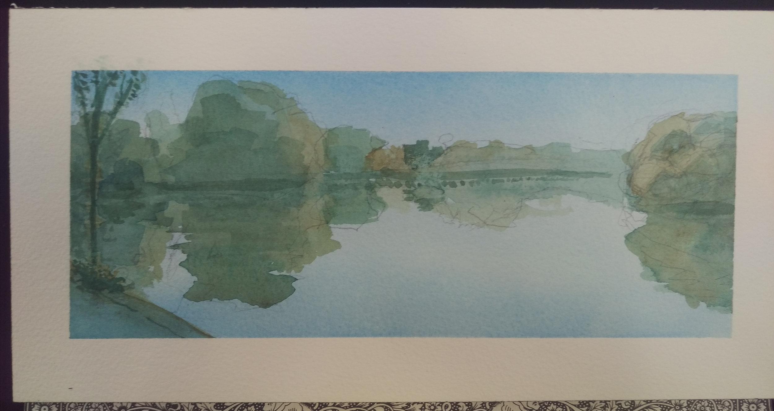Hackensack in Quiet Air - Watercolor on paper