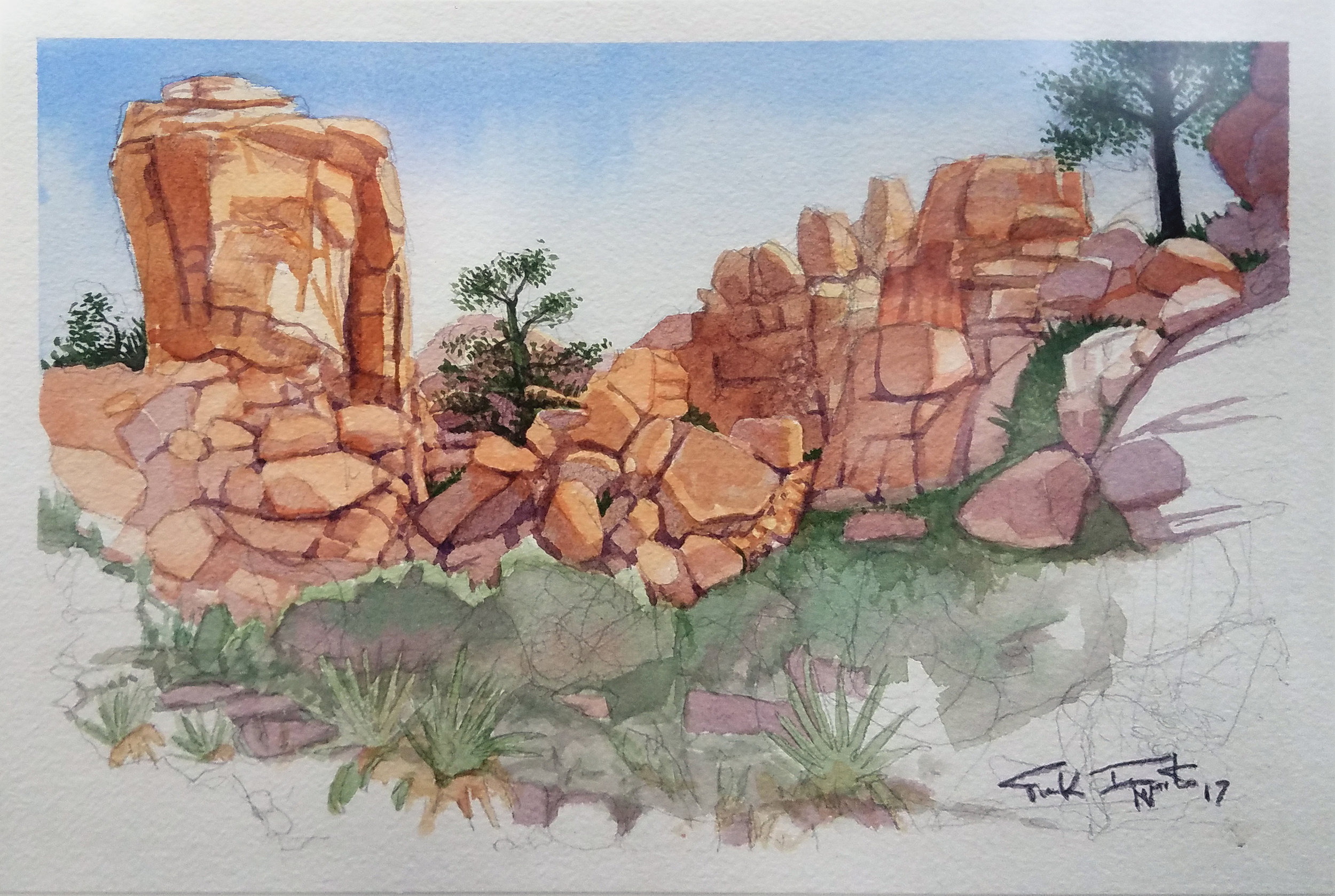Joshua Tree Tower - Watercolor on Paper