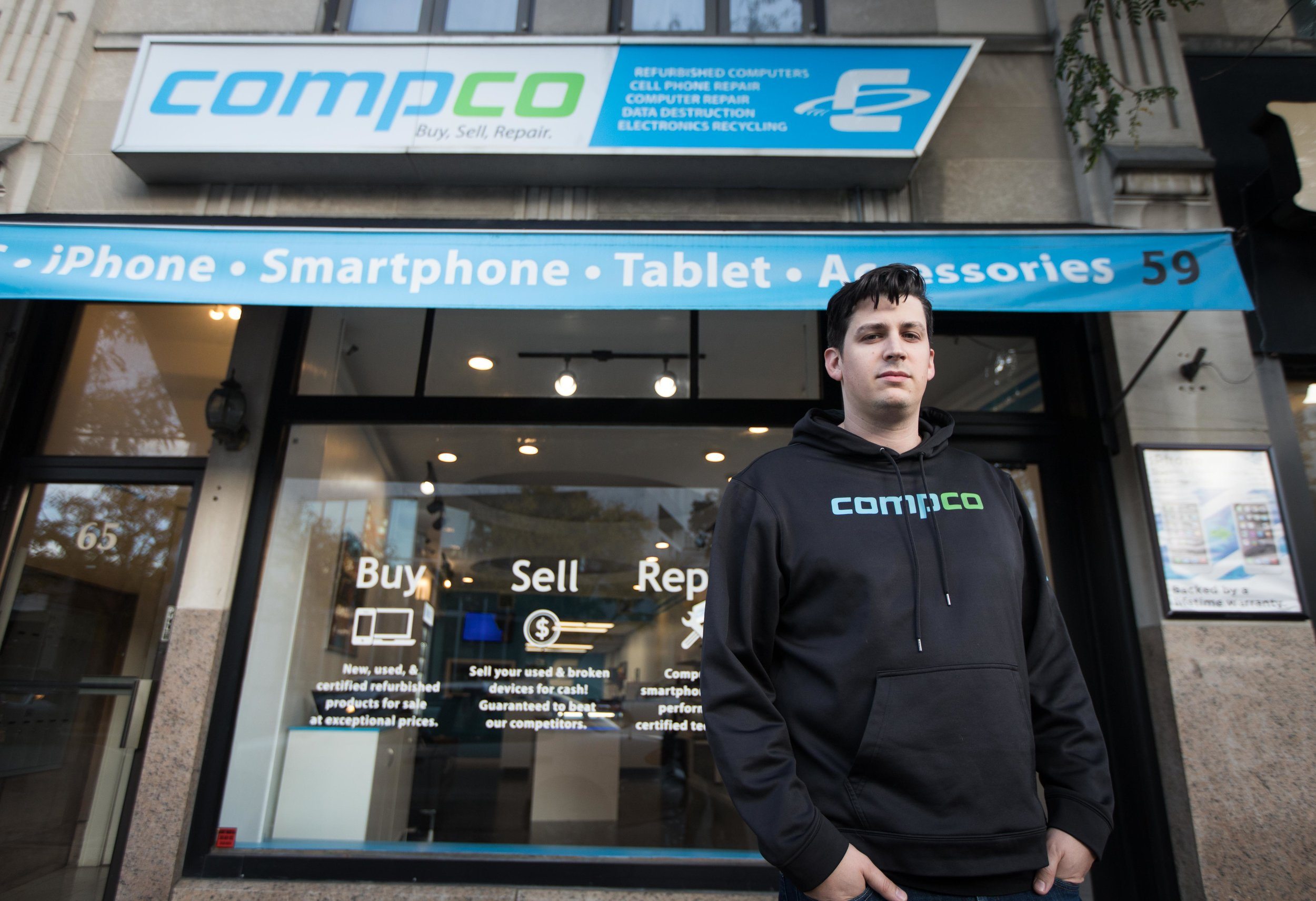 Owner/Co-founder Patrick Foti in front of Compco HQ in downtown Stamford, CT