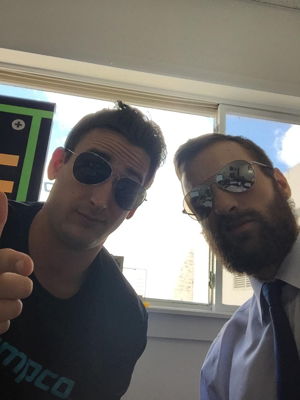 James Foti and Alex Jankovsky keepin' it cool at work