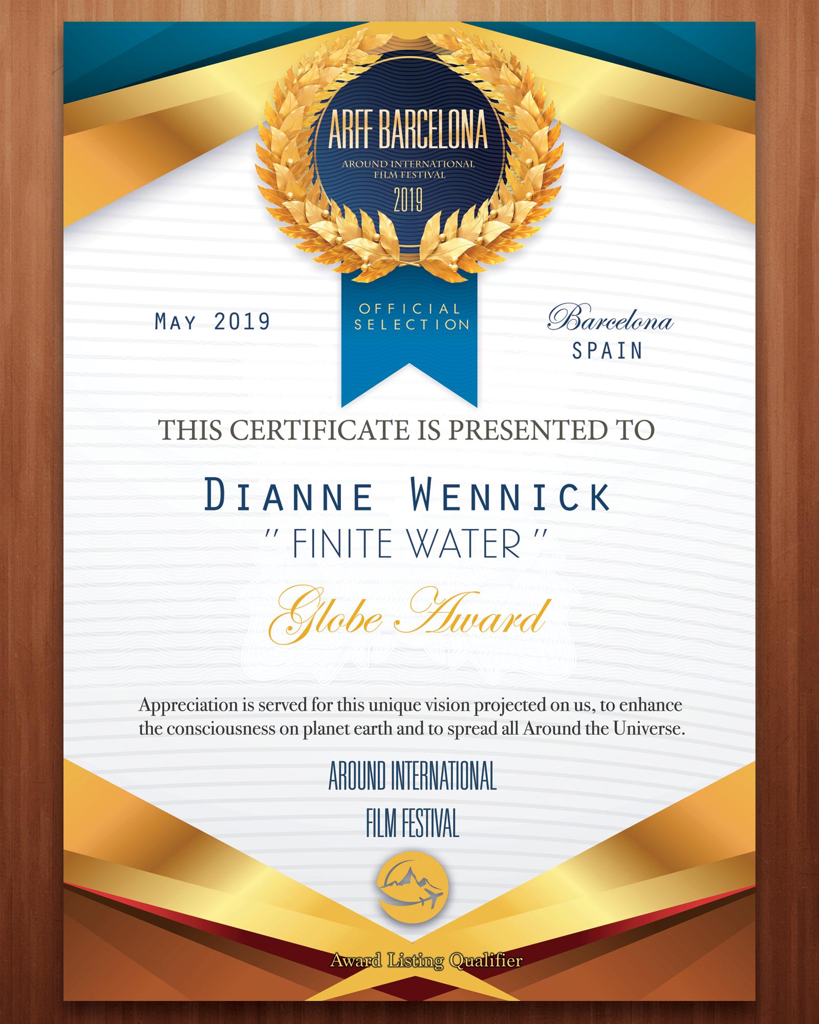 ARFF_Certificate_Finite_Water_Dianne_Wennick_2019.png